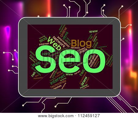 Seo Word Shows Web Text And Optimization