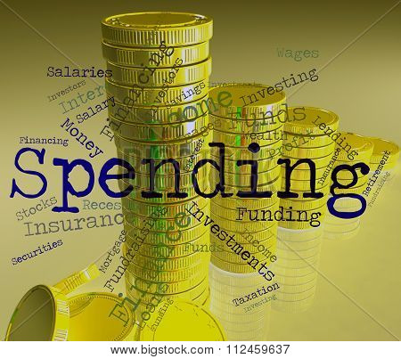 Spending Word Shows Shopping Words And Bought