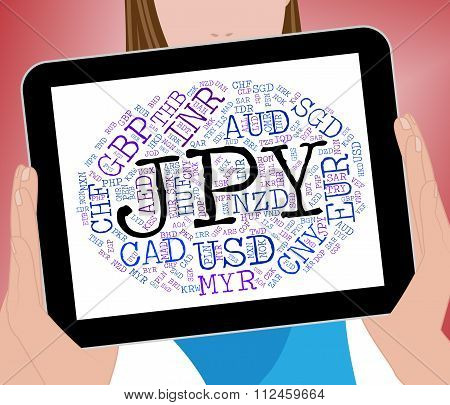 Jpy Currency Shows Japan Yen And Broker