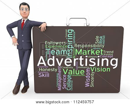 Advertising Wordcloud Means Advertisements Promotion And Adverti