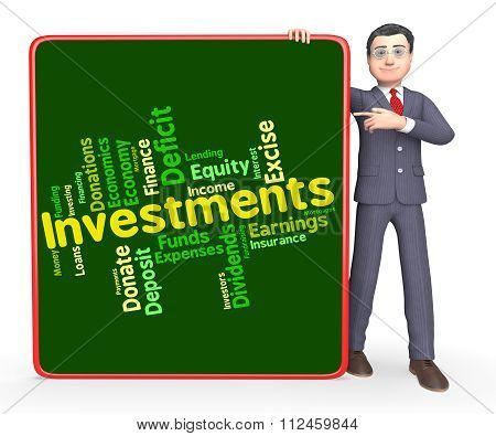 Investments Word Indicates Investor Words And Opportunity