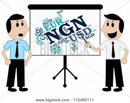 Ngn Currency Means Foreign Exchange And Banknote
