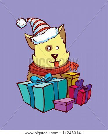 Dog gets Christmas presents