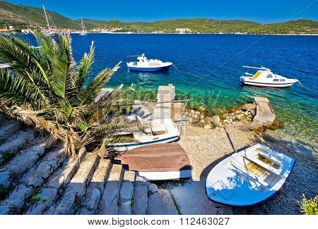 Small Boat Beach On Vis Island