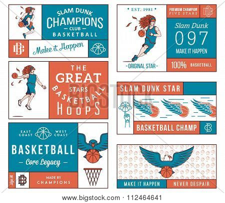 Basketball Labels Colored