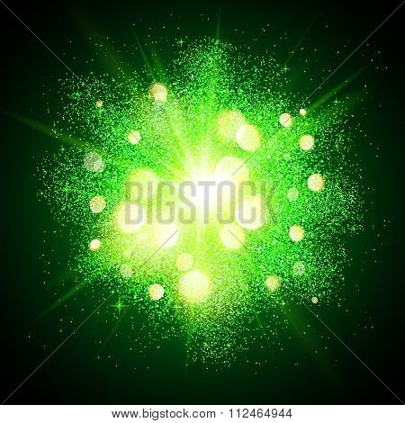 Green shining fireworks explosion at black background