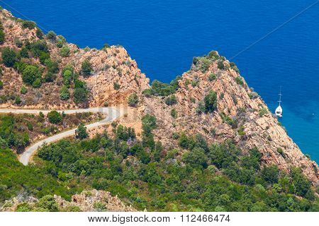 Mountain Road On Capo Rosso, Piana, Corsica