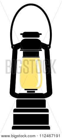 Vector Simple Oil Lamp Flat Illustration