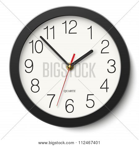 Round Wall Clock Without Divisions In Black Body Isolated On White
