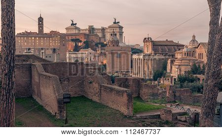 Rome, Italy: Roman Forum and Old Town of the city