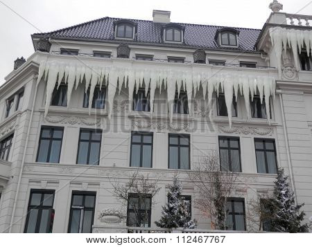 Icicles On Copenhagen Building
