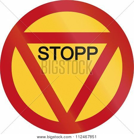 Obsolete Road Sign In Sweden - Stop