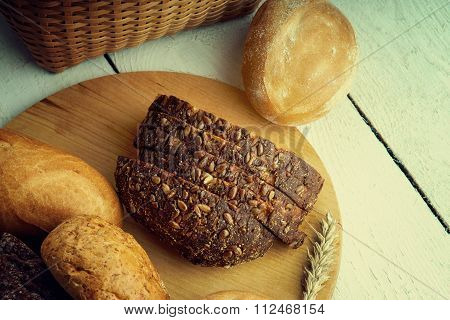 Bakery products on a cutting board