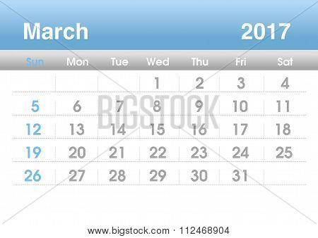 Calendar 2017. Planning calendar for March 2017.Vector template.
