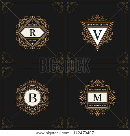 Monogram Design Elements, Graceful Template. Elegant Line Art Logo Design. Emblem Letter R, V, B, M.