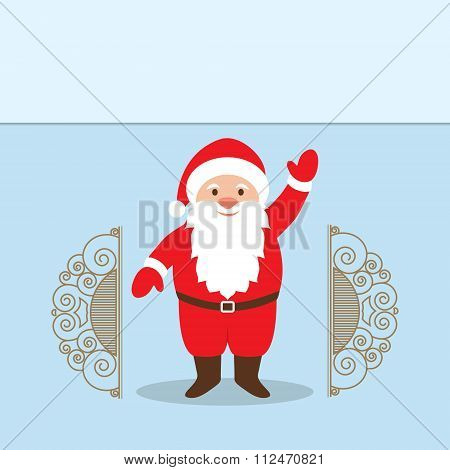 Santa Claus Cartoon Character With A Raised Right Hand Standing At The Gate.  Decorative Christmas B