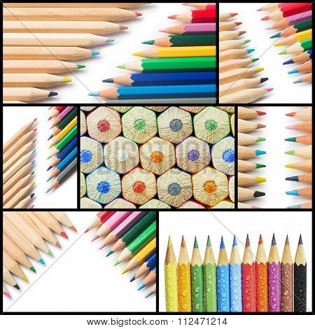 Collage Colorful Crayons