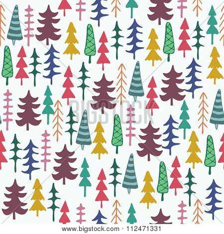 Fir Tree Seamless Pattern Colorful.