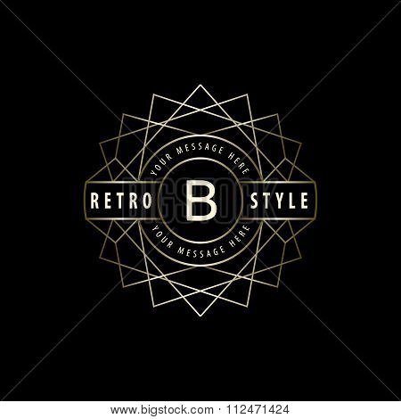 Geometric Monogram Logo. Abstract Vector Template In Trendy Mono Line Style. Letter Emblem B. Monoch