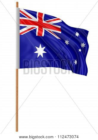 3D Australian flag with fabric surface texture. White background. Image with clipping path