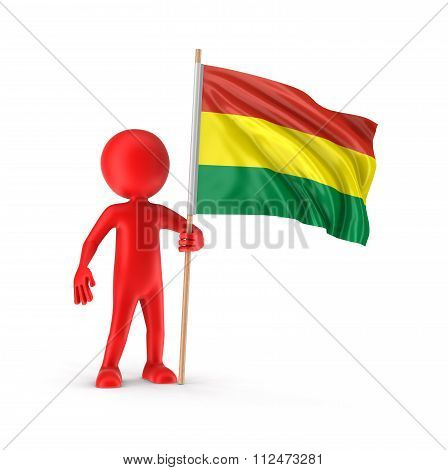 Man and Bolivian flag. Image with clipping path