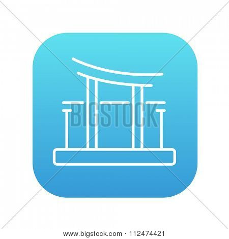 Torii gate line icon for web, mobile and infographics. Vector white icon on the blue gradient square with rounded corners isolated on white background.