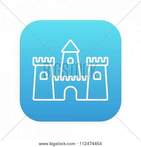 Sandcastle line icon for web, mobile and infographics. Vector white icon on the blue gradient square with rounded corners isolated on white background.