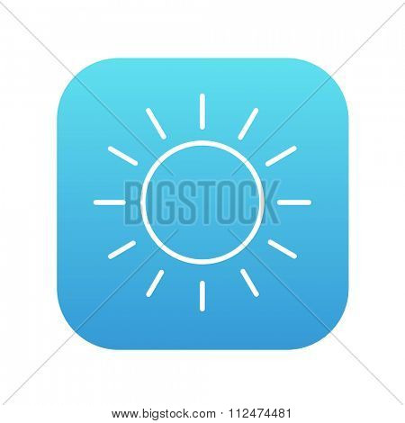 Sun line icon for web, mobile and infographics. Vector white icon on the blue gradient square with rounded corners isolated on white background.