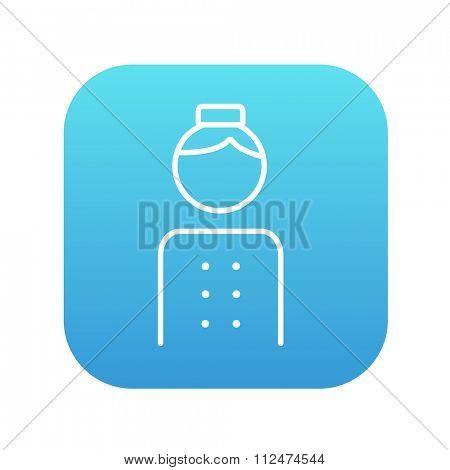 Bellboy line icon for web, mobile and infographics. Vector white icon on the blue gradient square with rounded corners isolated on white background.