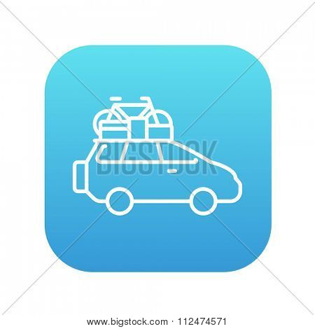 Car with bicycle mounted to the roof line icon for web, mobile and infographics. Vector white icon on the blue gradient square with rounded corners isolated on white background.