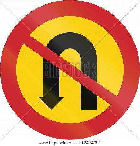 Road Sign Used In Sweden - No U-turn