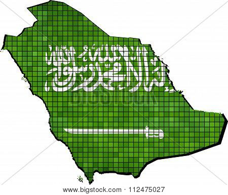 Saudi Arabia Map With Flag Inside.eps