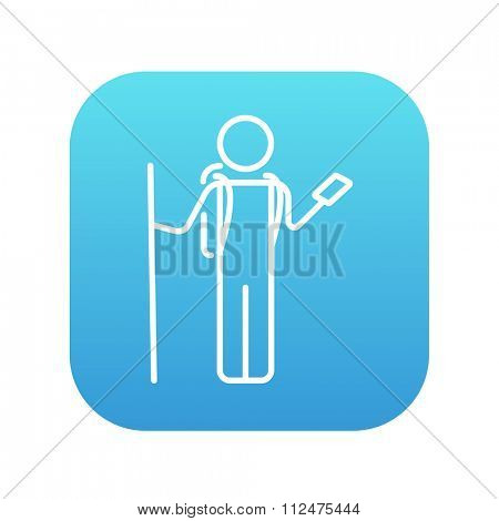 Tourist backpacker with phone line icon for web, mobile and infographics. Vector white icon on the blue gradient square with rounded corners isolated on white background.