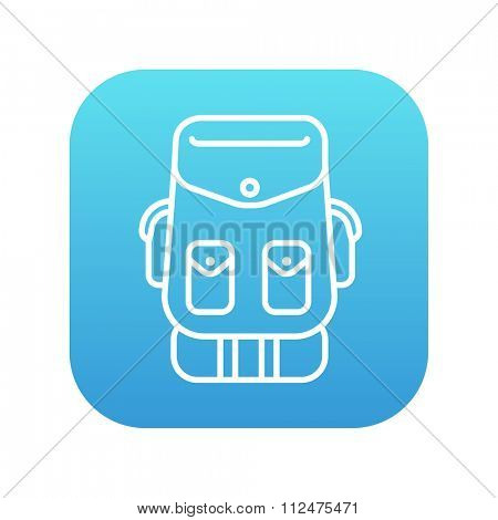 Backpack line icon for web, mobile and infographics. Vector white icon on the blue gradient square with rounded corners isolated on white background.