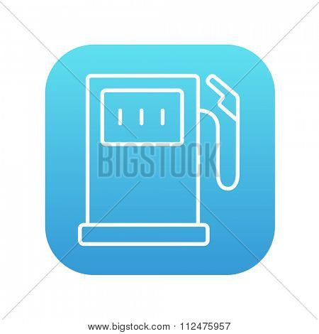 Gas station line icon for web, mobile and infographics. Vector white icon on the blue gradient square with rounded corners isolated on white background.