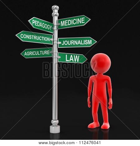 Man and Sign Directions. Image with clipping path