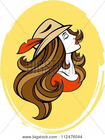 Vector Stylized Portrait Of Cartoon Pretty Fashion Girl With Long Hair In Brown Hat Isolated On Whit