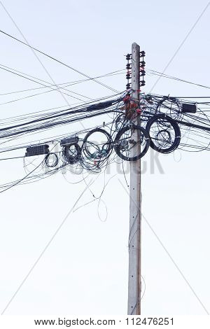 Electric Pole In The Day On Under View.