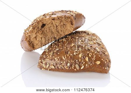 Brown Bun Sprinkled With Flax Seeds, Sunflower, Pumpkin And Sesame Seeds.
