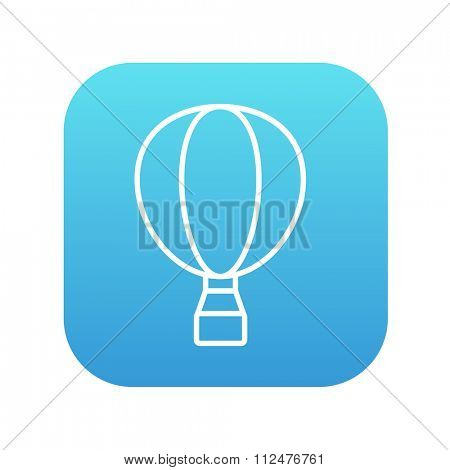Hot air balloon line icon for web, mobile and infographics. Vector white icon on the blue gradient square with rounded corners isolated on white background.