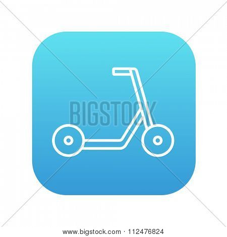 Kick scooter line icon for web, mobile and infographics. Vector white icon on the blue gradient square with rounded corners isolated on white background.