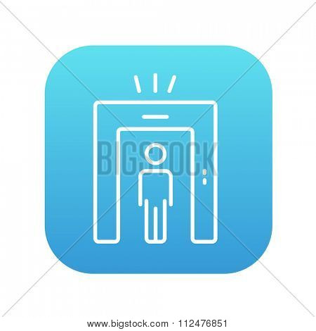 Man going through metal detector gate line icon for web, mobile and infographics. Vector white icon on the blue gradient square with rounded corners isolated on white background.