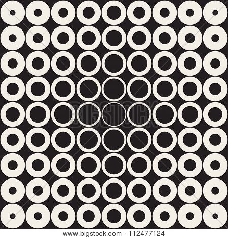 Vector Seamless Black And White Grid Of Circles With Fading Outlines Towards The Center Retro Patter