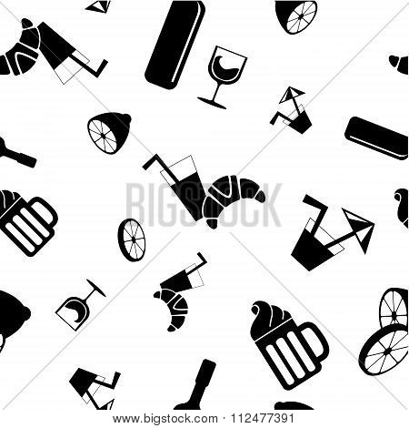 Food and drink seamless vector pattern