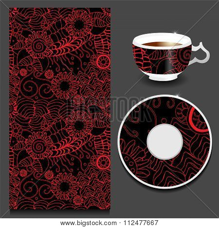 Vector Seamless Orient Pattern With Cup And Plate. Russian Design