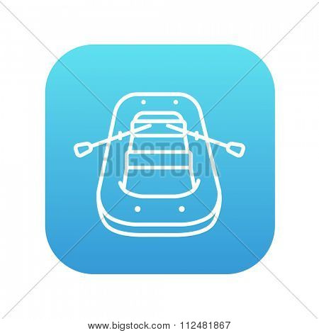 Inflatable boat line icon for web, mobile and infographics. Vector white icon on the blue gradient square with rounded corners isolated on white background.