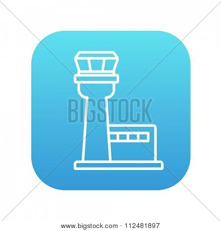 Flight control tower line icon for web, mobile and infographics. Vector white icon on the blue gradient square with rounded corners isolated on white background.