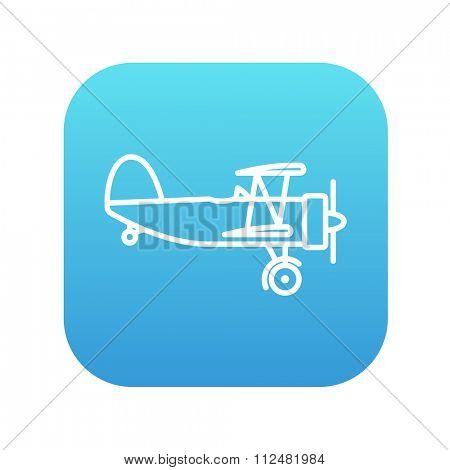 Propeller plane  line icon for web, mobile and infographics. Vector white icon on the blue gradient square with rounded corners isolated on white background.