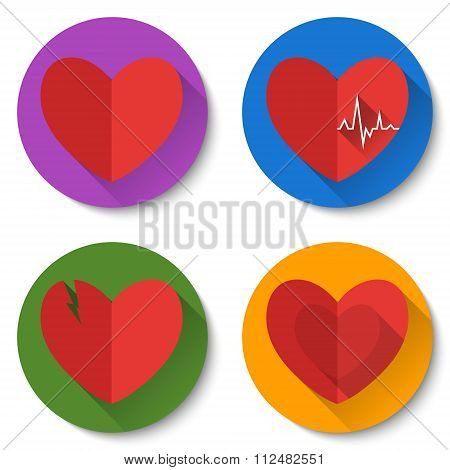 Set Of Four Colorful Flat Heart Icons With Long Shadows. Double Hearts, Broken Heart, Heartbeat. Val
