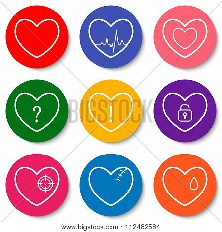 Set Of Nine Colorful Flat Heart Icons. Double Hearts, Broken Heart, Heartbeat, Locked Heart. Valenti
